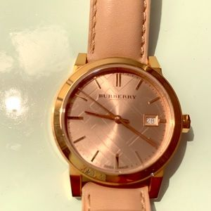 Burberry watch with tan strap, rose gold hardware